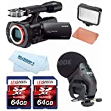 Sony NEX-VG900 Full-Frame Camcorder (Black) + Rode Stereo VideoMic Pro + LED + Two 64GB Cards