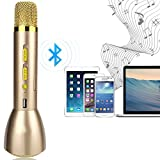 Anpress Portable Karaoke Player and Wireless Bluetooth Speaker Handheld Microphone, Compatible with Apple iPhone Android Smartphone PC iPad, Singing Anytime Anywhere (Gold)