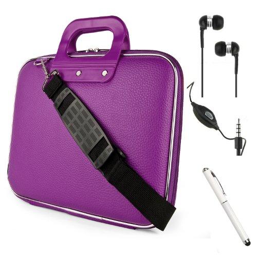 Faux Leather Shoulder Bag Hardshell Cube Case For Amazon Kindle Fire Hd Hdx 7 Inch Tablet + Hd Noise Filter Earbuds Earphones + Stylus Pen