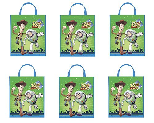Disney Pixar ~ Toy Story Set of 6 Party Favor Goodie Tote Bags Featuring Image of Woody and Buzz Lightyear (Woody Cake Pan compare prices)