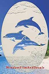 Dolphins Jumping Oval Etched Window Decal Vinyl Glass Cling - 15\