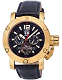 Swiss Master Men's Watch Black Leather And Dial Gold Case Automatic Day Date SM200015G