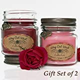 Romantic Gift -Scented Candles 2-Pack- Perfect Anniversary, Wedding Gift for Her -2 Candles Scented with Fragrant, Long Lasting Romantic Rose and Raspberry White Chocolate -Soy Wax Blend (Red / Pink)