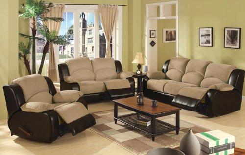 3pcs Upholstery Sofa Loveseat & Recliner Set - Beige Finish