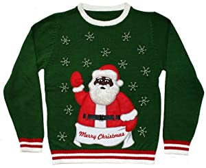Ugly Christmas Sweater - Black Santa Clause with Bells Holiday Sweater by Skedouche