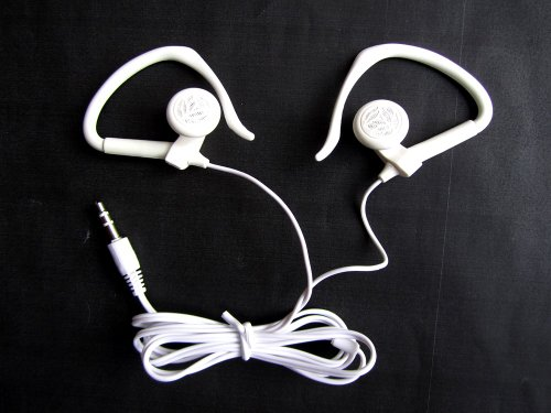 White Stereo Headphones 3.5mm with Ear Hooks for Apple iPhone 5S 5C 5 4S 4 3GS 3G 16GB 32GB 64GB Memory Mobile Phone Touch Screen Smartphone In-Ear Headset Earset Headphone 3.5 mm