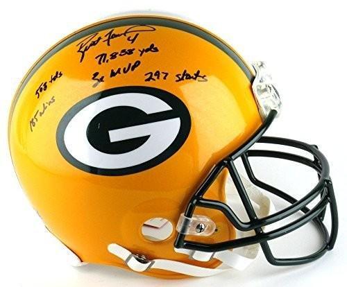 Signed Brett Favre Proline Helmet - Career Stats - Autographed NFL Helmets