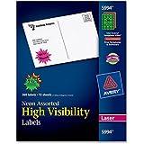 Avery 5994 Neon, Fluorescent burst laser labels, 1-1/2 diameter, 360/pack