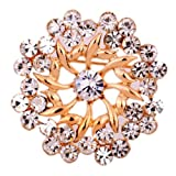 Yazilind Jewelry Rose Gold Plated Glaring Crystal Pretty Brooches and Pins Vintage for Women & Girls thumbnail