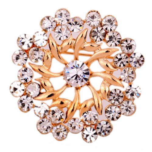 Yazilind Jewelry Rose Gold Plated Glaring Crystal Pretty Brooches and Pins Vintage for Women & Girls image