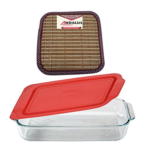 Pyrex Basics 3 Quart Glass Oblong Baking Dish with Red Plastic Lid | Lasagna Pan | 9 x 13 Inch | Includes Bamboo Hot Pad by Andalus (Large Ceramic Baking Pan compare prices)