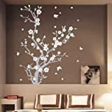 Medium Blossom Flower Tree Butterfly Wall Arts / Wall Stickers / Wall Decals-White
