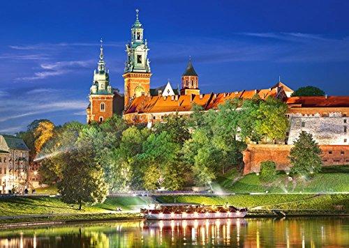 Puzzle 1000 Teile - Schloß Wawel in Polen - Krakau Castle - bei Nacht - Königsschloß Wawelkathedrale - Landschaft Schlößer Burg Wawelschloß Drachengrotte