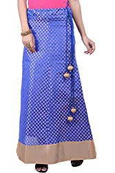 Rene Women's Blue Chanderi Weave Flared Fit Long Skirt