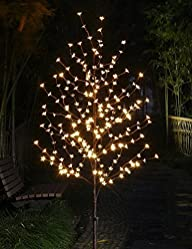 Lightshare 6 Ft Blossom Tree has 208L LED lights and 20L LED C7 Decoration Light, Warm White