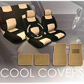 Universal Synthetic Leather Car Seat Covers Set with Floor Mats Steering Wheel Cover and Shoulder Pads