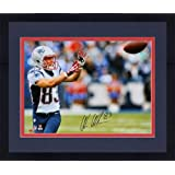 Framed Wes Welker New England Patriots Autographed 16'' x 20'' Horizontal Catching Ball... by