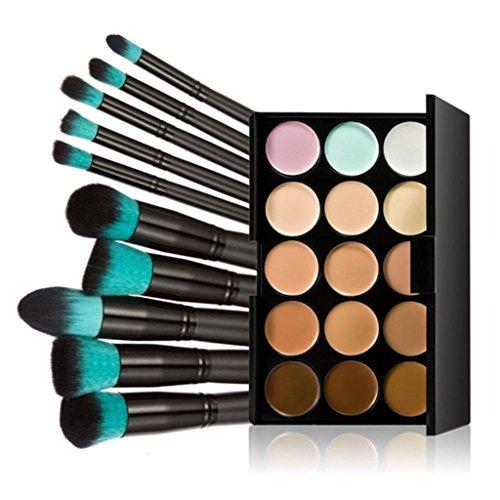 Fheaven 10pcs Makeup Brushes Set Powder Foundation Eyeshadow Tool +15 Colors Concealer