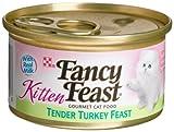 Purina Fancy Feast Wet Cat Food, Kitten, Tender Turkey Feast, 3-Ounce Can, Pack of 24