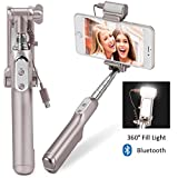[Updated] MOCREO®Bluetooth Selfie Stick with 360 Degree Led Fill Light (Gold)