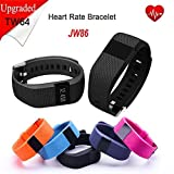 iTontek® JW86 TW64S Fitness Heart Rate Smart band Smart Bracelet Wristband Tracker Bluetooth 4.0 Watch for ios android (TW64 upgraded version) (Black)