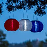 "Set of 3 Oriental Style Solar 10"" Rechargeable LED Lanterns - Red, White and Blue"