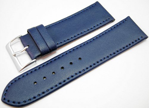 Blue Leather Watch Strap Band With A Stitched Edging And Nubuck Lining 24mm
