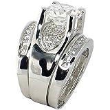Bold Bridge Round 3.22 Ct. Cubic Zirconia Cz Engagement Bridal Wedding 3 Pc. Ring Set (Center Stone 2.5 Cts.)