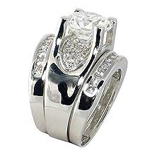buy Bold Bridge Round 3.22 Ct. Cubic Zirconia Cz Engagment Bridal Wedding 3 Pc. Ring Set (Center Stone 2.5 Cts.) (9)