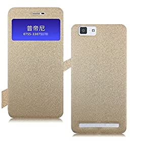 Heartly GoldSand Sparkle Luxury PU Leather Window Flip Stand Back Case Cover For Vivo X5 Max - Hot Gold