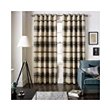 Jeff Banks Home Painted Stripe Lined Eyelet Curtains, Charcoal Grey - 90