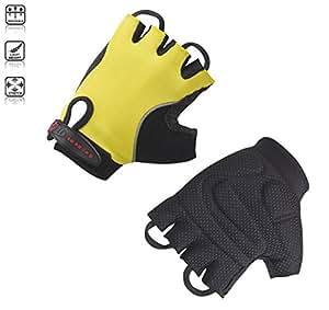 Tenn-Outdoors Men's Fingerless Cycling Gloves Mitts - Yellow/Black, X-Large