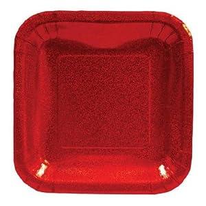 """Creative Converting Glitz Red 7"""" Square Prismatic Dessert Plates, 8 Count"""