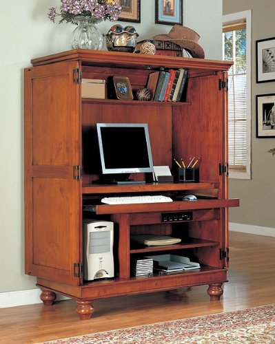 Buy Low Price Comfortable All new item Tobacco finish wood country style computer armoire cabinet (B0014B4BZO)