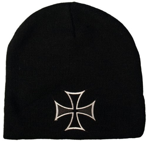 Maltese Iron Cross Black Knit Beanie OS