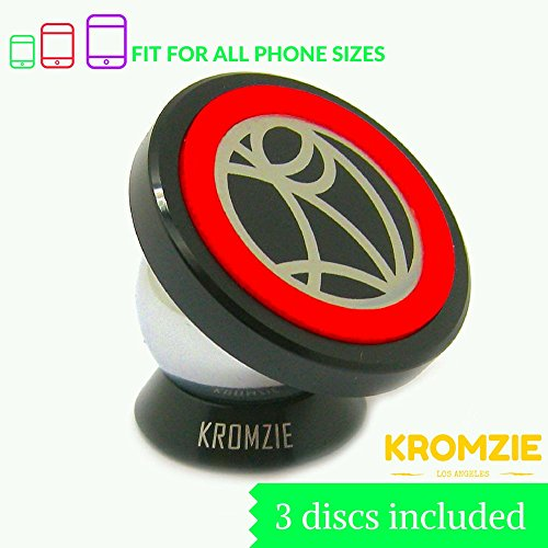 Car Mount, Kromzie Ultra Strong Universal Magnetic Phone Holder (1 Car Mount, 1 Magnetic Plate, 3 Metallic Discs, 2 3M Adhesives)