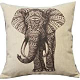 "Ambox Beige Cotton Blend Linen Square Decorative Throw Pillow Covers - Indoors or Outdoors Cushion Cases, 18"" x 18"", Beige/White/Black, Cartoon Animal Style Abstract Elephant"