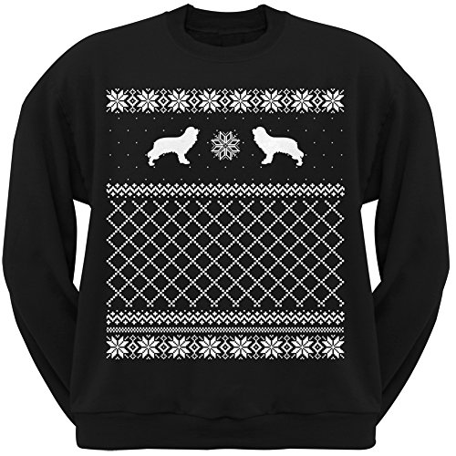 Cavalier King Charles Spaniel Black Adult Ugly Christmas Sweater Crew Neck Sweatshirt - X-Large