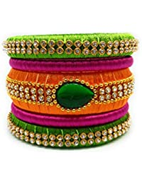 SAI Handmade Silk Thread Bangle Set For Women, Pink Orange And Green Color With Stone (Size - 2.8)