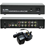 4 Port Active 3 RCA/Phono Splitter Box -1 Input 4 Output- Amplifier AV/CCTV/TV Distribution