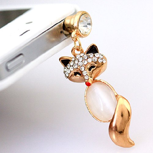 Buyinhouse 3.5Mm Bling Crystal Cellphone Charms Anti Dust Plug Ear Jack Cap For Iphone 4 4S Samsung Galaxy S2 S3 Note I9220 Htc Sony Nokia - Clear Rhinestone Golden Fox Pendant Style