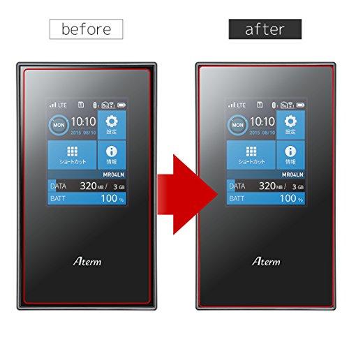 WANLOK 2016 改善版 大きめサイズ Aterm MR04LN モバイルルーター 専用 ガラスフィルム NSG 日本板硝子社 国産ガラス採用 液晶保護 フィルム 0.2mm 超薄 9H ラウンドエッジ 指紋防止 90日保証付 国内正規品 AtermMR04LN
