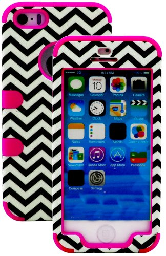 Mylife (Tm) Rose Pink And Black - Chevron Series (Neo Hypergrip Flex Gel) 3 Piece Case For Iphone 5/5S (5G) 5Th Generation Itouch Smartphone By Apple (External 2 Piece Fitted On Hard Rubberized Plates + Internal Soft Silicone Easy Grip Bumper Gel + Lifeti