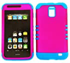 2 in 1 Hybrid Case Protector for AT&T Samsung Galaxy S II Skyrocket SGH-I727 Phone Hard Cover Faceplate Snap On Blue Silicone + Hot Pink