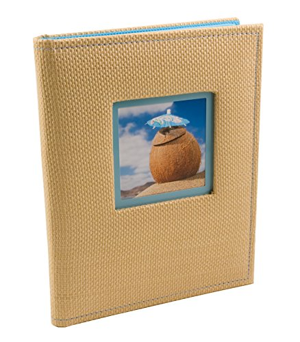 BorderTrends Beach 80-Pocket Rattan Cover Photo Album, Blue - 1