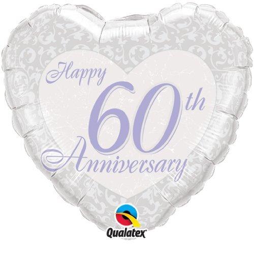 Happy 60th Diamond Wedding Anniversary 18″ Qualatex Foil Balloon