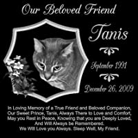 12 x 12 Lazer Gifts Personalized True Friend Black Granite Pet Memorial Marker Style Tanis