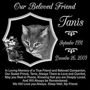 12 x 12 Lazer Gifts Personalized True Friend Black Granite Pet Memorial Marker Style Tanis