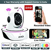 D3D Wireless IP Camera FULL HD, Remote Mobile Application View & Control,Real Infra-Red Night Vision, Onvif 2.0, P2P, Motion Detection with Email Alerts,Two-Way Audio, 1 Year Warranty with live Support from D3D, Support upto 128 GB micro SD card