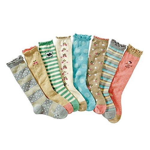 Deer Mum 8 Pairs Girl'S Princess Style Knee High Socks (Pack 8)-Multicolor4 (M(7Y-12Y)) front-115325